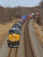CSX 3142 leads Q163 west on the Garrett Sub