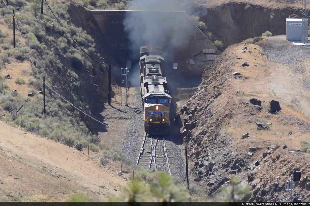 UP 5445 and two others pop out of Tunnel 9