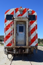 Front view of the ex-Metra gallery car at the Pacific Southwest Railway Museum.
