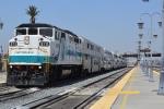 Metrolink train arriving from LA