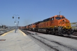 Eastbound intermodal with five units passing San Bernardino station
