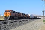 A BNSF northbound is seen stopped south of the downtown Tehachapi