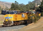 UP 5384 leads a manifest north and down Tehachapi