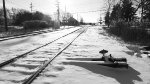 B&W Picture of The Switch & W&LE Tracks In The Winter