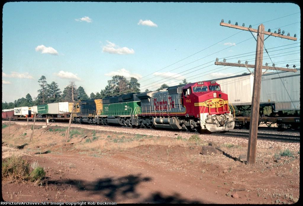 WB pre-BNSF merger Santa Fe meets EB intermodal