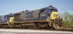 CSX 5809 B36-7 and CSX 5885 B36-7 in a light power move at the east end of  CSX Gentilly Yard New Orleans La. 04-07-1996