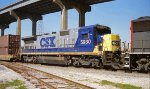 CSX 5930 X-NYSW 4010 and SP 9789 GP60 eastbound approaching the Jourdan Road crossing at the west end of CSX Gentilly Yard in New Orleans LA 02-17-1996