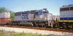 CSX 8054 X-FL SD40-2 eastbound behind GP40-2 6358 with a container train at Old Gentilly Road in New Orleans La 03-1995