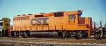 CSX 9711 GP40 X-B&O 4009 in MOW pumpkin orange facing east under late afternoon sunlight in CSX Gentilly Yard New Orleans LA 10-29-1995