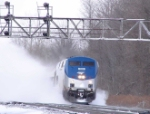 AMTK 707 kicks up a blizzard at CP 382