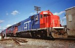 GTW 5850 GP38-2 idling facing east on CSX at the Kentucky Street crossing in Louisville KY Fall 1994