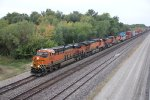 BNSF 6564 Leads a Eb stack train down main 2.