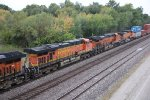 BNSF 7695 Trails 2nd out on a EB stack train.