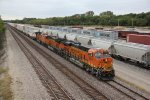 BNSF 8213 New C4 leading a EB Z into the siding at Fort Madison Iowa.