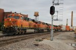 BNSF 8126 New C4 leads a WB stack train into Fort MAD..