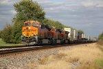 BNSF 8285& 8286 lead a WB stack train down the Transcon.