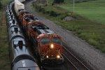 BNSF 6744 hustles a EB stack train into Baring Mo.
