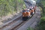 BNSF 6558 Heads a WB stack train on the #2 main..