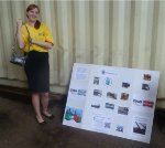 60s girl Mallory poses with R36 Preservation's display. Groovy!