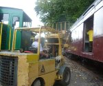 Loading a pallet into PRR B60b baggage car 9286