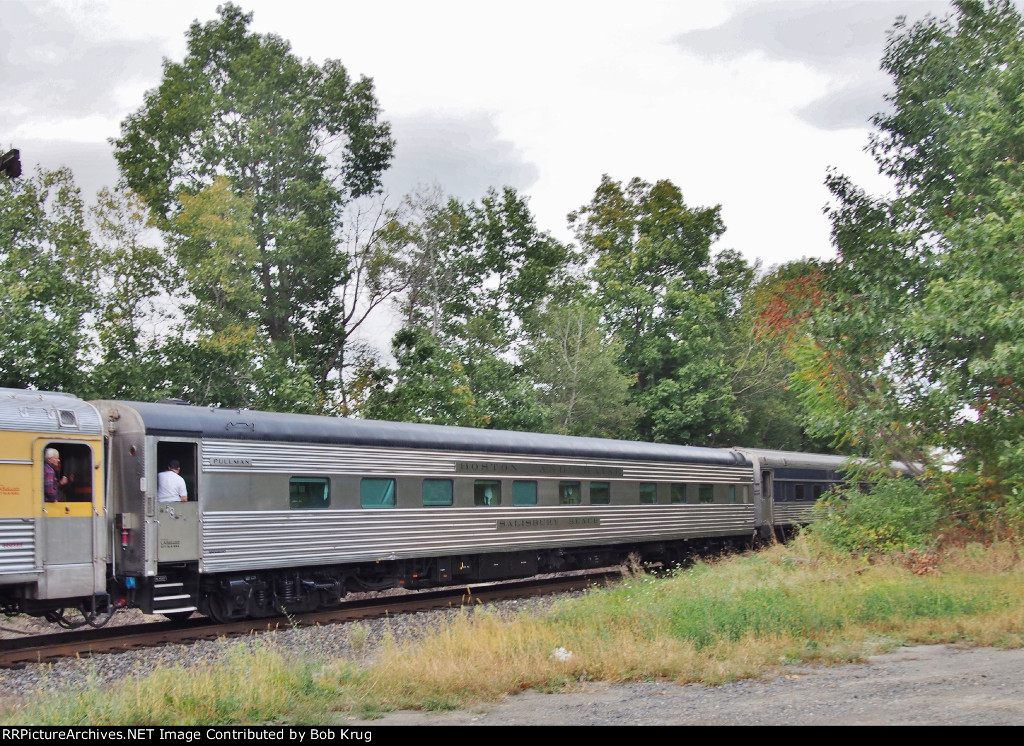 "Among the 26 cars on the Limited was ex-Boston & Maine sleeping car ""Salisbury Beach"" returning to home rails after many years."