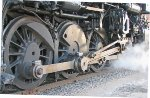 "PM 1225 Steam locomotive running gear. 69"" wheels, the fwd one is covered by steam"