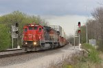 CN 2108 splits the signals at the south end of Ackerville siding as it leads Q193 north