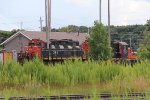 A pair of GP9-Slug sets sit at the east end of Sarnia Yard