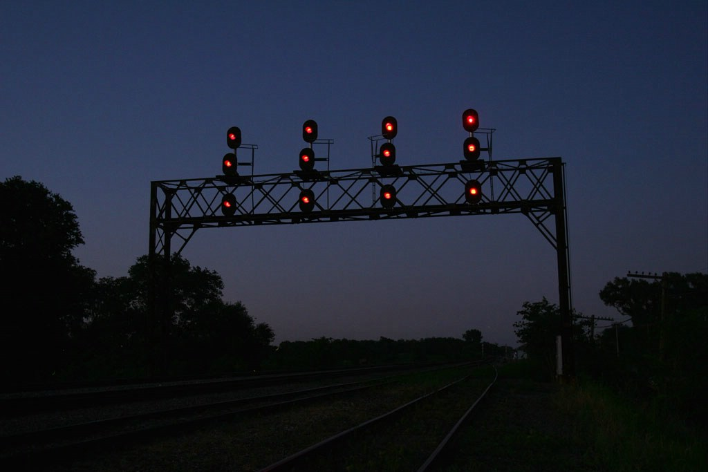 C&NW signals at dusk.