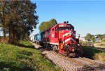 CLP 203 leads a southbound manifest freight