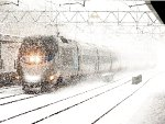 Acela Power Car #2005 in a Blizzard