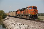 BNSF 6263 Heads a SB loaded ucex coal train..