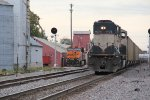 BNSF 9774 Works Dpu past a parked solo gevo in Old Monroe Mo.