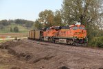 BNSF 5853 Leads a coal load next to were the new siding is being bulit.