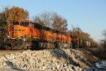3 Ge's lead a empty grain train up the Hannibal Sub.