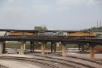 UP 4108 Leads a junk freight over the flyover in Kc Mo.