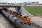 BNSF 6362 Leads a empt coal while meeting a loaded oil can.
