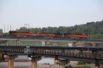BNSF 6785 Heads another stack train on the Orangacon.