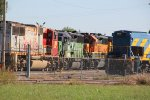 BNSF 3163 and more old BNSF power sit's at Mid America Car shops.