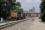 Running as G758, light power heads east for a grain train at Grand Ledge