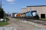 MQT's pair of NREX lease units lead the recently arrived 3406 as Z151 begins its return trip northward