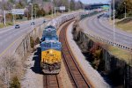 CSX 3316 leads a loaded grainer down the A-line in Richmond, va.