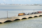 BNSF 4131 with Galveston Wharves in the background