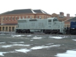 PWSX 1229 SD18 in front of the Northern Pacific Depot