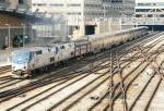 """AMTK 201, 206 with the #3 """"Southwest Chief"""" and Patrón Tequila Express #50 on the end"""