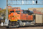 BNSF 8561 in DP pushing EB coal train heading out of town