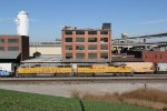 UP 2176 Leads a transfer train east in the West Bottoms of Kc.