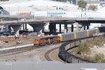 BNSF 7211 Works a rack train into Santa Fe jct,