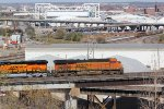 BNSF 7217 Heads up dpu on a WB stack train over the flyover.