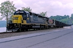 CSX 8810 brings empty coal hoppers to Kingston at West Point, NY 5/2000